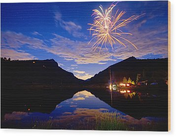 Rocky Mountains Private Fireworks Show Wood Print by James BO  Insogna