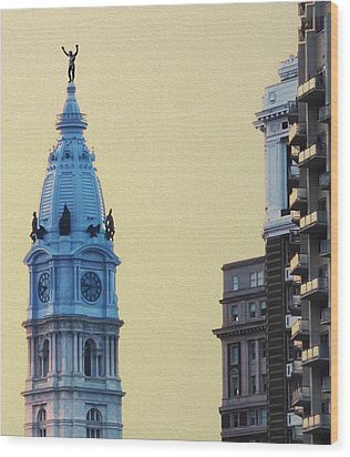 Rocky On Top Of City Hall Wood Print by Bill Cannon