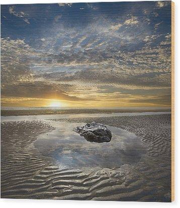 Rocky Pool At Dawn Wood Print by Debra and Dave Vanderlaan