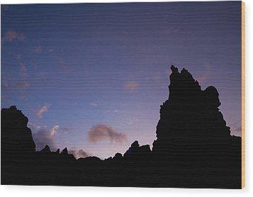 Rocky Purple Sunset Wood Print by Charmian Vistaunet