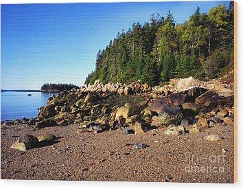 Rocky Shoreline Deer Isle Maine Wood Print by Thomas R Fletcher