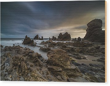 Rocky Southern California Beach 4 Wood Print by Larry Marshall