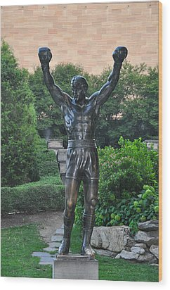 Rocky Statue - Philadelphia Wood Print by Bill Cannon