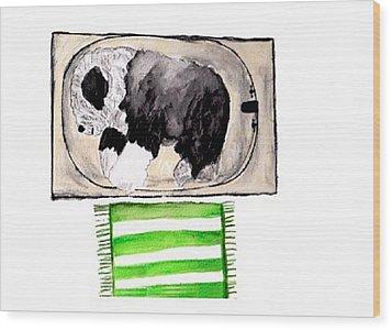 Rocky The Tub Sleeper Wood Print