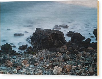 Rocky Water Wood Print by Allan Johnson
