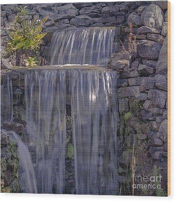 Rocky Waterfall Wood Print by Michael Waters