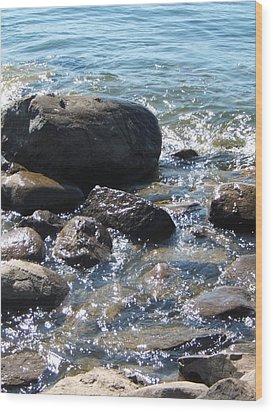 Rocky Waters Wood Print by Margaret McDermott
