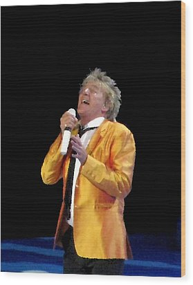 Rod Stewart Wood Print by Melinda Saminski
