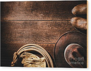 Rodeo Background Wood Print by Olivier Le Queinec