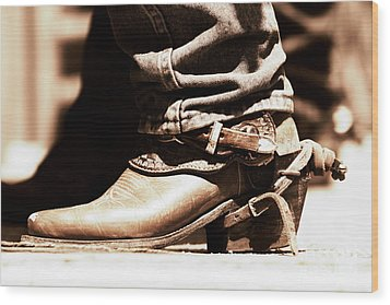 Wood Print featuring the photograph Rodeo Boot And Spur In Copper Tint by Lincoln Rogers