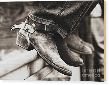 Wood Print featuring the photograph Rodeo Boots And Spurs In Black And White by Lincoln Rogers