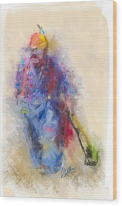 Rodeo Clown Wood Print by Andrea Auletta