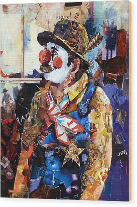 Rodeo Clown Wood Print by Suzy Pal Powell