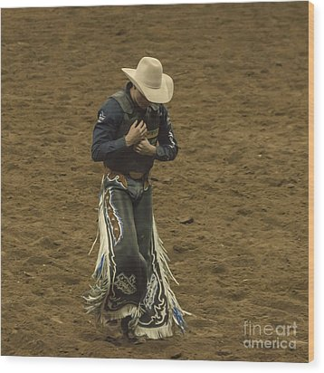 Rodeo Cowboy Dusting Off Wood Print by Janice Rae Pariza