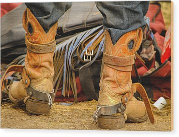 Rodeo Cowboy Tools Of The Trade Wood Print by Miki  Finn