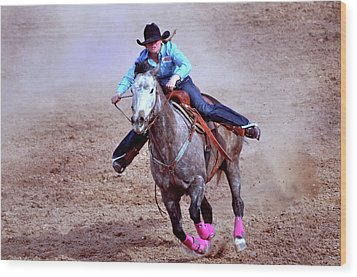 Wood Print featuring the photograph Rodeo Cowgirl by Barbara Manis
