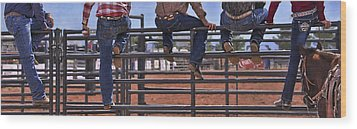 Rodeo Fence Sitters Wood Print