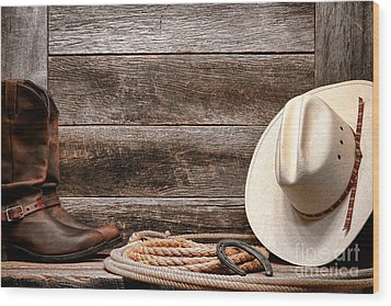 Rodeo Still Life Wood Print by Olivier Le Queinec