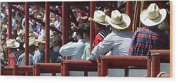Wood Print featuring the photograph Rodeo Time Cowboys by Susan Garren