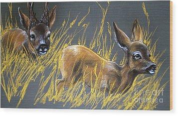 Roe Deer Wood Print by Angel  Tarantella