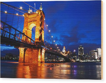 Roebling Bridge Cincinnati Wood Print by James Kirkikis