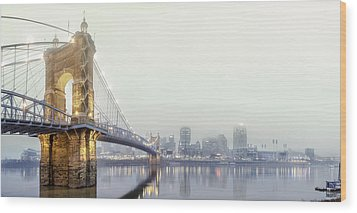 Roebling In The Fog Wood Print by Keith Allen