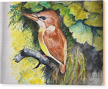 Wood Print featuring the painting Rofous - Backed Kingfisher  by Jason Sentuf