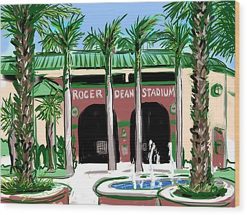 Roger Dean Stadium Wood Print by Jean Pacheco Ravinski