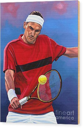 Roger Federer The Swiss Maestro Wood Print by Paul Meijering