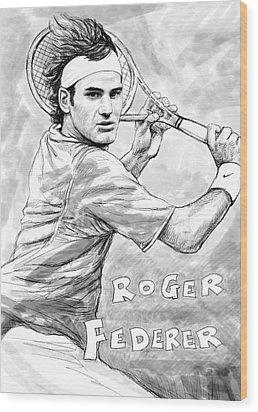 Roger Federer Art Drawing Sketch Portrait Wood Print by Kim Wang