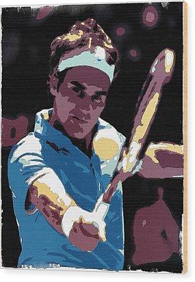 Roger Federer Portrait Art Wood Print by Florian Rodarte