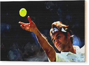 Roger Federer Tennis 1 Wood Print by Lanjee Chee