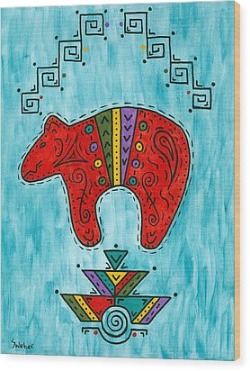 Rojo Oso Wood Print by Susie WEBER