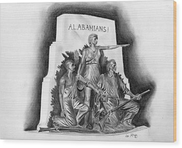 Roll Tide Alabama Monument At Gettysburg Wood Print by Lou Knapp