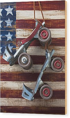 Rollar Skates With Wooden Flag Wood Print by Garry Gay