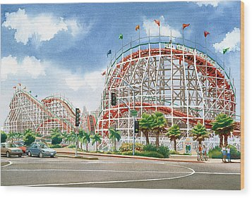 Roller Coaster Mission Beach Wood Print by Mary Helmreich
