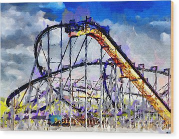 Roller Coaster Painting Wood Print by Magomed Magomedagaev
