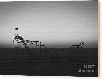 Roller Coaster Silhouette Black And White Wood Print by Michael Ver Sprill