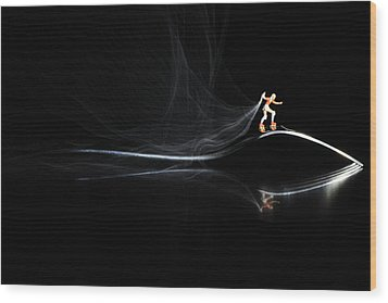 Roller Skating On A Fork With Smoke Torch Wood Print by Paul Ge
