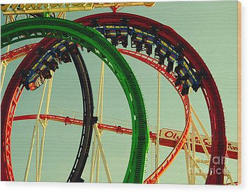 Rollercoaster Looping At The Actoberfest In Munich Wood Print by Sabine Jacobs