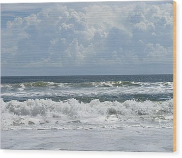 Rolling Clouds And Waves Wood Print