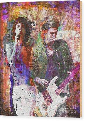 Rolling Stones Wood Print by David Plastik