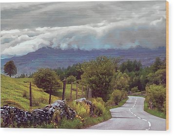 Rolling Storm Clouds Down Cumbrian Hills Wood Print
