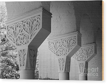 Rollins College Arcade Detail Wood Print by University Icons