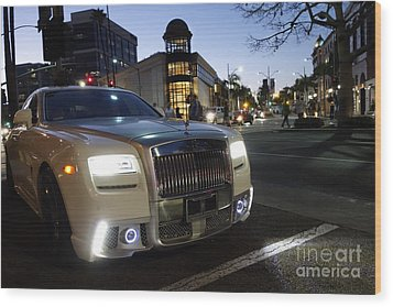 Rolls Royce Parked At The Bottom Of Rodeo Drive Wood Print by Nina Prommer