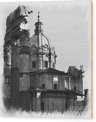 Roma Black And White Wood Print by Stefano Senise