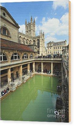 Roman Bath And Bath Abbey Wood Print