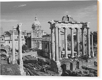 Roman Forum Wood Print by Eva Kaufman