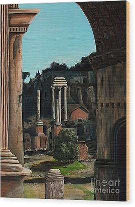 Roman Forum Wood Print by Nancy Bradley