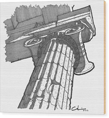 Roman Ionic Column Capital Wood Print by Calvin Durham